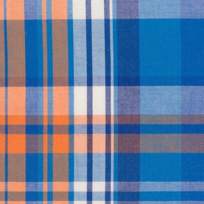 コットン×チェック(ブルー&オレンジ)×ブロード イメージ1