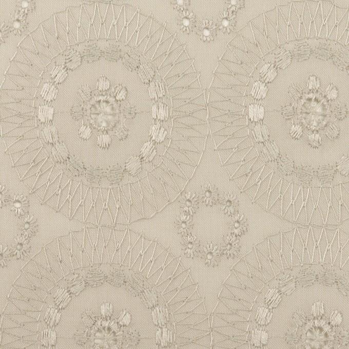 コットン×フラワー(グレイッシュベージュ)×ローン刺繍_全6色 イメージ1
