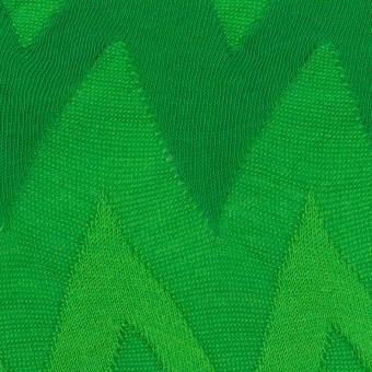 コットン×ウェーブ(グリーン)×ジャガードニット