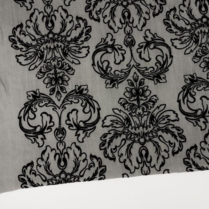 シルク×幾何学模様(ブラック)×シフォンジョーゼット刺繍 イメージ2