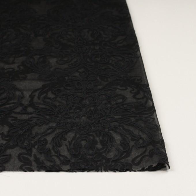 シルク×幾何学模様(ブラック)×シフォンジョーゼット刺繍 イメージ3