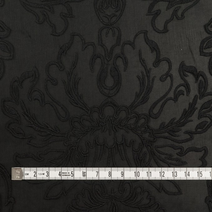 シルク×幾何学模様(ブラック)×シフォンジョーゼット刺繍 イメージ4
