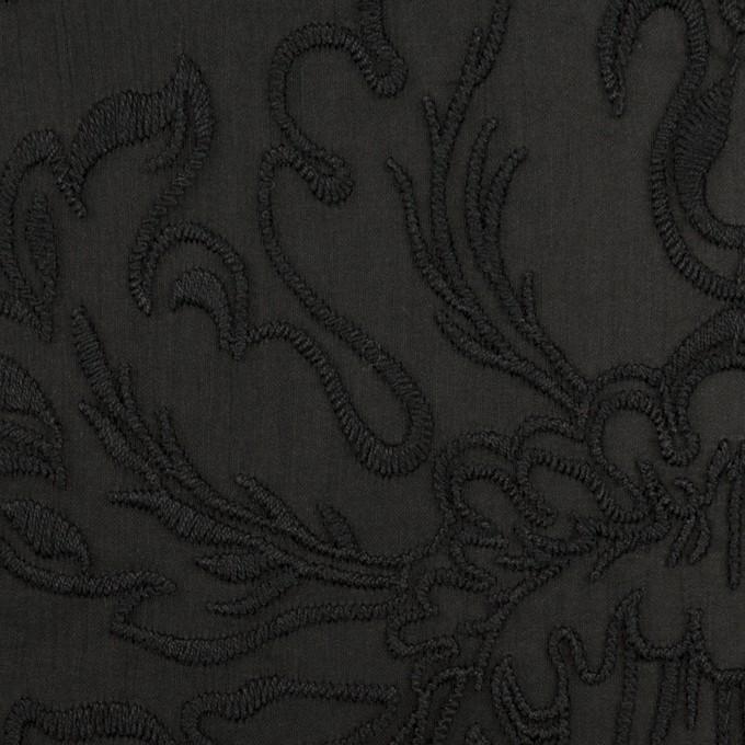 シルク×幾何学模様(ブラック)×シフォンジョーゼット刺繍 イメージ1