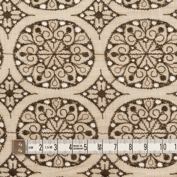 コットン×フラワー(ベージュ&ブラウン)×シャンブレー刺繍_全2色 イメージ4