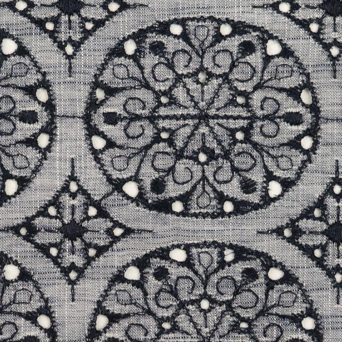 コットン×フラワー(ネイビー&ネイビー)×シャンブレー刺繍_全2色 イメージ1