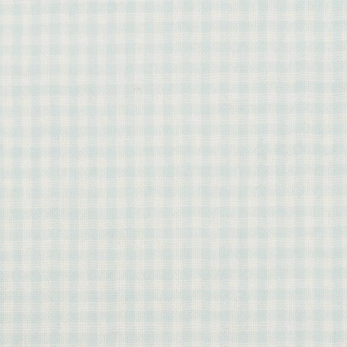 コットン×チェック(サックス)×Wガーゼ イメージ1