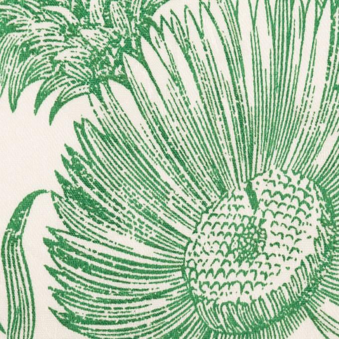 コットン&ポリウレタン×フラワー(ミルク&グリーン)×ジャガード・ストレッチ イメージ1