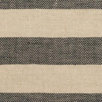 リネン×ボーダー(グレイッシュベージュ&ブラック)×薄キャンバス サムネイル1