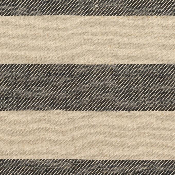 リネン×ボーダー(グレイッシュベージュ&ブラック)×薄キャンバス イメージ1