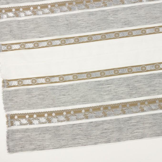 ナイロン&ポリエステル混×ボーダー(シルバーグレー&カーキ)×オーガンジー・ジャガード イメージ2