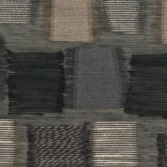 コットン&ナイロン混×幾何学模様(ブラック&ゴールド)×オーガンジー・ジャガード