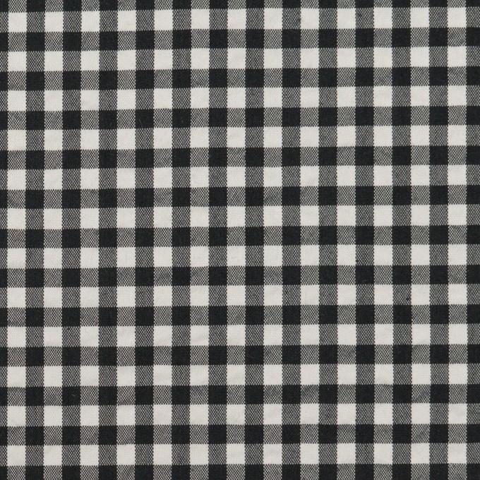 ナイロン&コットン混×チェック(ブラック)×ブロードサッカー・ストレッチ イメージ1