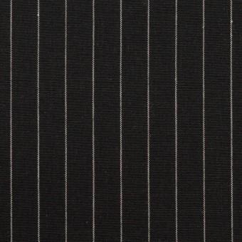 コットン&リネン混×ストライプ(ブラック)×ポプリンストレッチ サムネイル1
