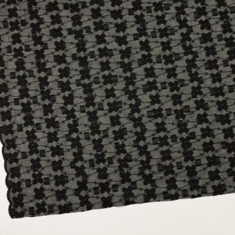 コットン×フラワー(ブラック)×ボイルカットジャガード刺繍 サムネイル2