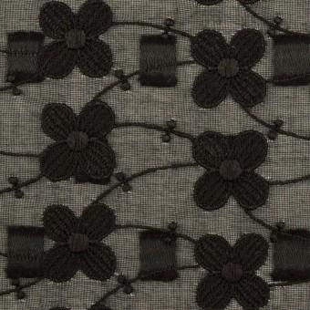 コットン×フラワー(ブラック)×ボイルカットジャガード刺繍 サムネイル1