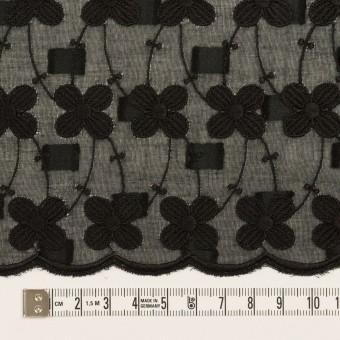 コットン×フラワー(ブラック)×ボイルカットジャガード刺繍 サムネイル6