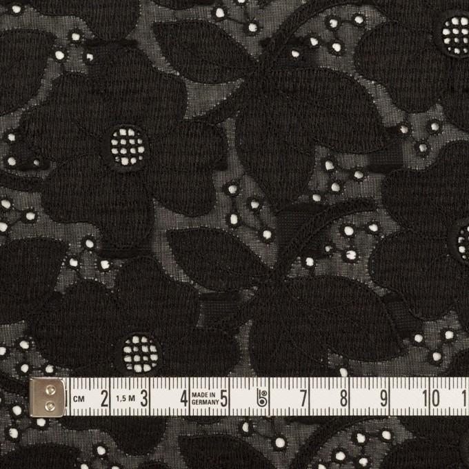 コットン×フラワー(ブラック)×ボイルカットジャガード刺繍 イメージ4