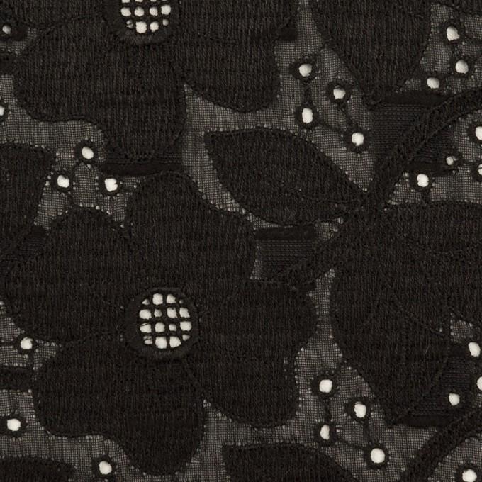 コットン×フラワー(ブラック)×ボイルカットジャガード刺繍 イメージ1