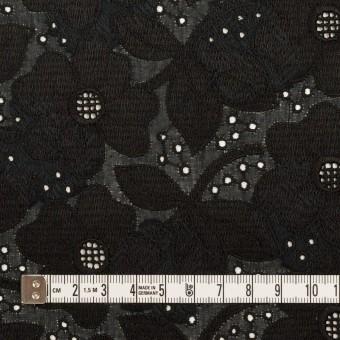 コットン×フラワー(ブラック)×ボイルカットジャガード刺繍 サムネイル4