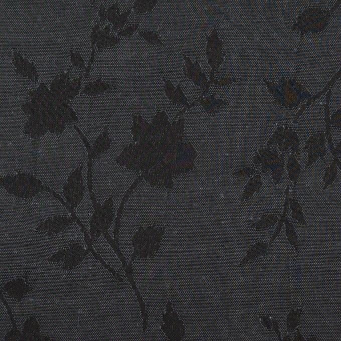 ポリエステル&キュプラ×フラワー(チャコール)×ポプリンジャガード イメージ1