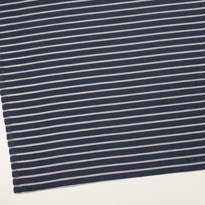 コットン&ポリエステル×ボーダー(アッシュネイビー)×オーガンジー・ジャガード_全2色 イメージ2