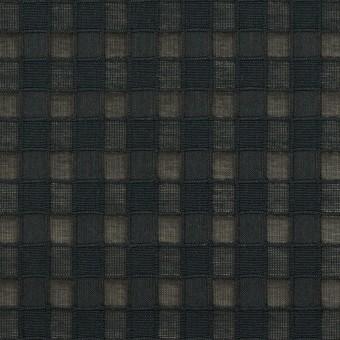 コットン&シルク×チェック(ブラック)×オーガンジー・ジャガード