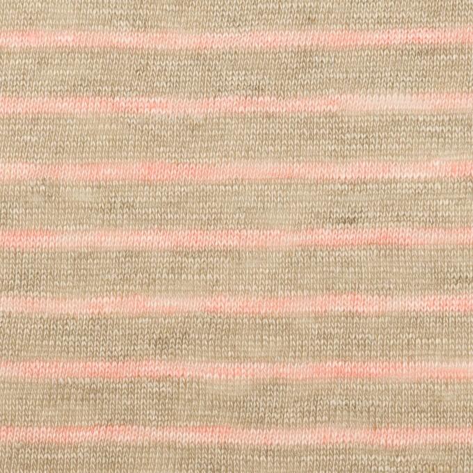 リネン×ボーダー(オートミール&サーモン)×天竺ニット_全2色 イメージ1