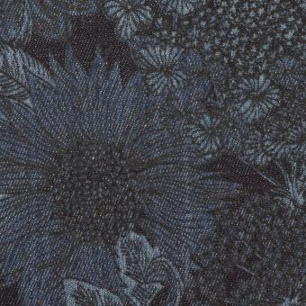 コットン&ポリウレタン×フラワー(インディゴ)×デニムストレッチ(8oz)