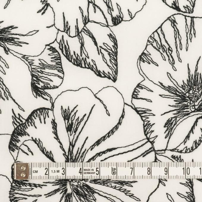 コットン×フラワー(オフホワイト&ブラック)×ローン刺繍_全3色 イメージ4