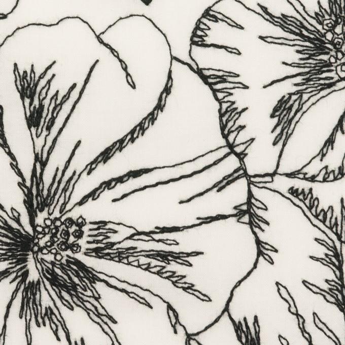 コットン×フラワー(オフホワイト&ブラック)×ローン刺繍_全3色 イメージ1