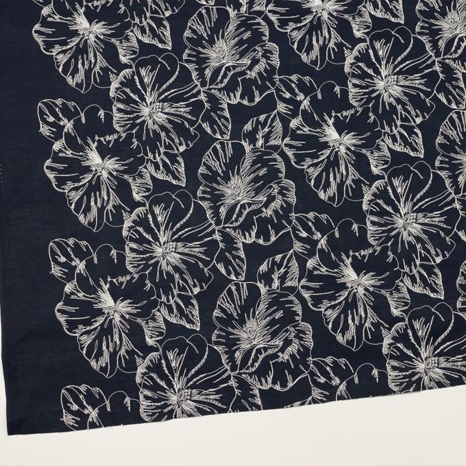 コットン×フラワー(ダークネイビー&オフホワイト)×ローン刺繍_全3色 イメージ2