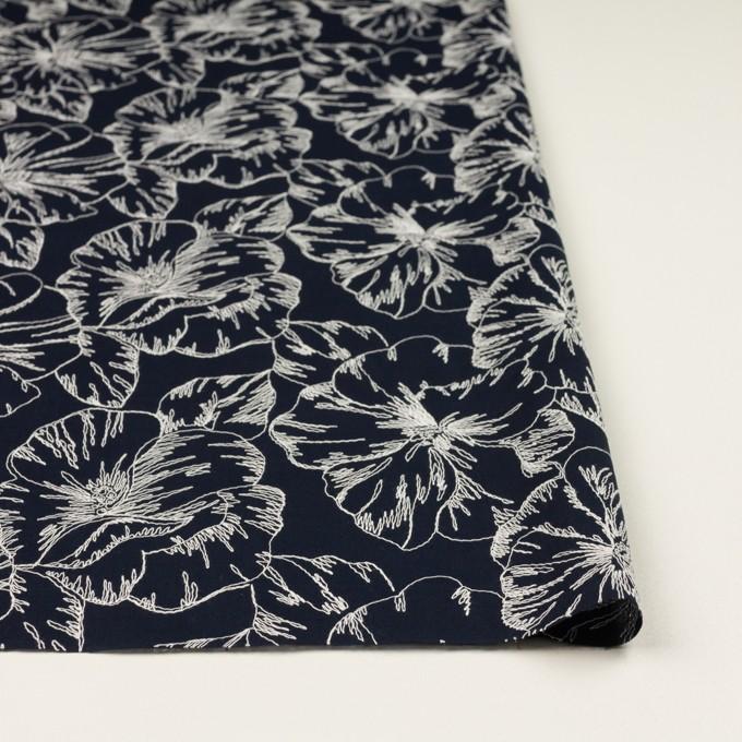 コットン×フラワー(ダークネイビー&オフホワイト)×ローン刺繍_全3色 イメージ3