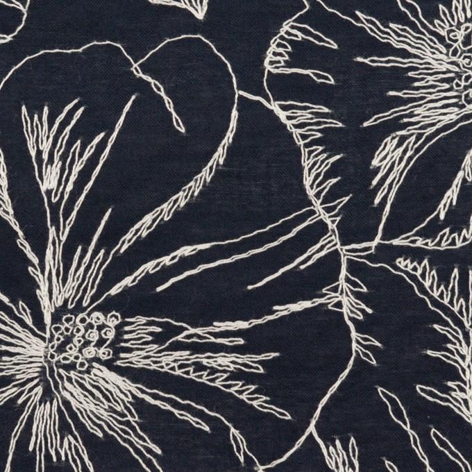 コットン×フラワー(ダークネイビー&オフホワイト)×ローン刺繍_全3色 イメージ1