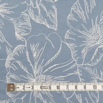コットン×フラワー(フロスティブルー&オフホワイト)×ローン刺繍_全3色 サムネイル4