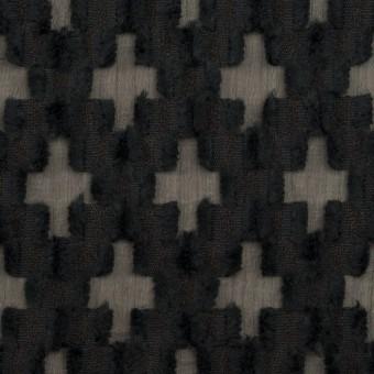 コットン&ナイロン×幾何学模様(ブラック)×オーガンジー・カットジャガード サムネイル1