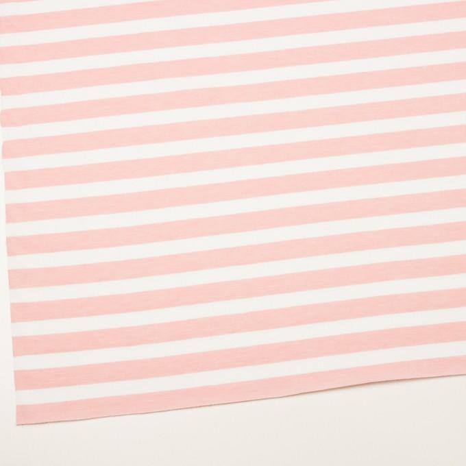 コットン&ポリエステル×ボーダー(ピンク)×天竺ニット_全3色 イメージ2