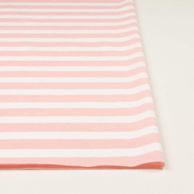 コットン&ポリエステル×ボーダー(ピンク)×天竺ニット_全3色 イメージ3