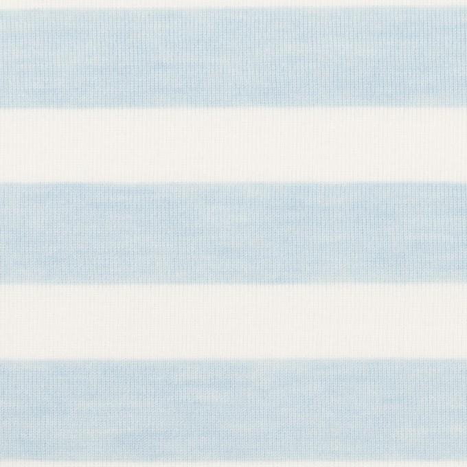 コットン&ポリエステル×ボーダー(サックス)×天竺ニット_全3色 イメージ1