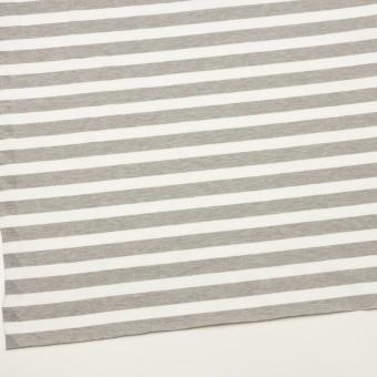 コットン&ポリエステル×ボーダー(杢グレー)×天竺ニット_全3色 サムネイル2