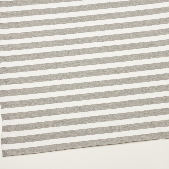 コットン&ポリエステル×ボーダー(杢グレー)×天竺ニット_全3色 イメージ2