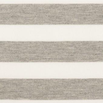 コットン&ポリエステル×ボーダー(杢グレー)×天竺ニット_全3色