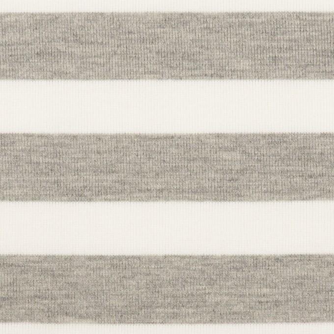 コットン&ポリエステル×ボーダー(杢グレー)×天竺ニット_全3色 イメージ1