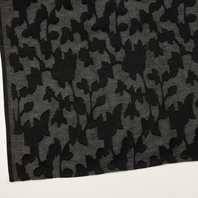 コットン×フラワー(ブラック)×ボイルカットジャガード イメージ2