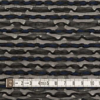 コットン&ナイロン混×ボーダー(ブラック&ミッドナイトブルー)×ボイルジャガード サムネイル4