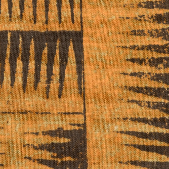 コットン&リネン×幾何学模様(マンダリンオレンジ&ダークブラウン)×シーチング イメージ1