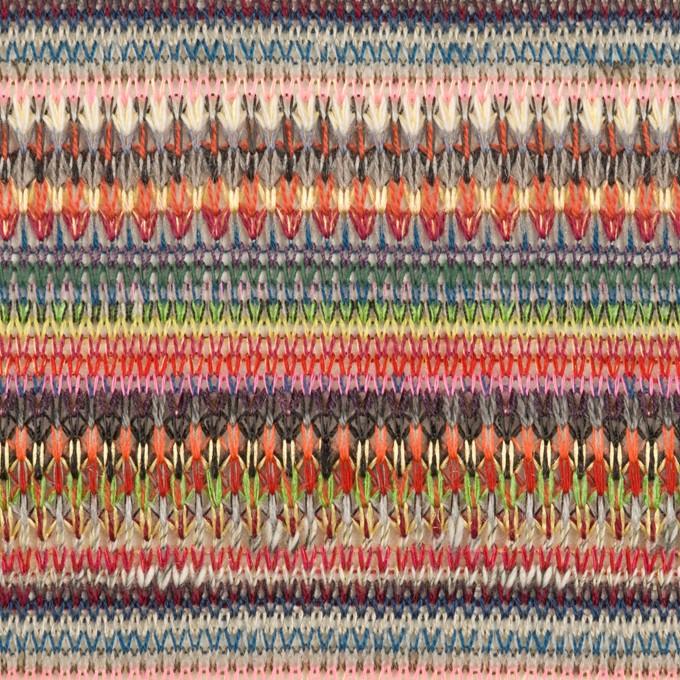 ポリエステル&レーヨン×ミックス(チェリー&グレー)×ジャガードニット_イタリア製 イメージ1