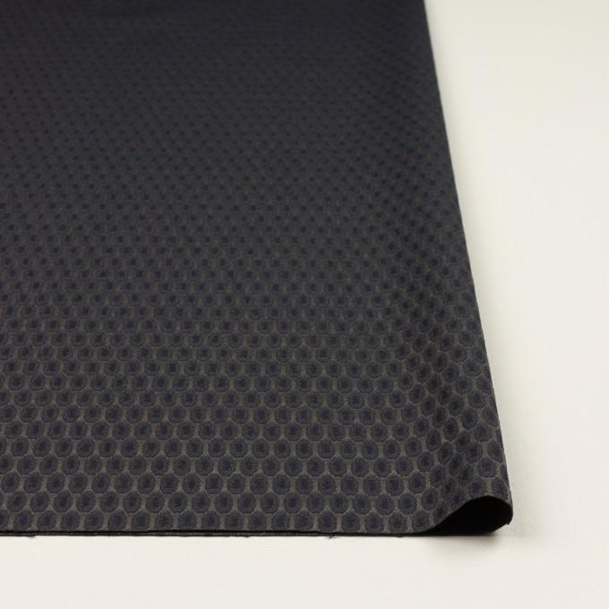 コットン&ポリエステル混×小紋(ダークネイビー&チャコールブラック)×サテンジャガード_フランス製 イメージ3