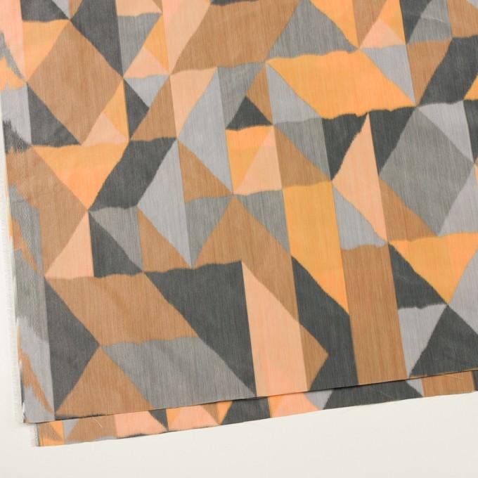 ポリエステル×幾何学模様(オレンジ&グレー)×形状記憶タフタ_全2色 イメージ2