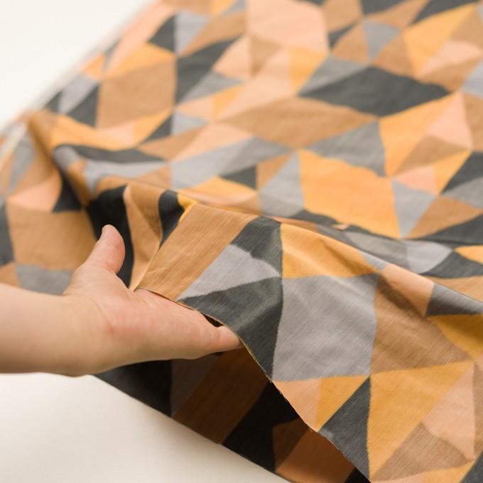 ポリエステル×幾何学模様(オレンジ&グレー)×形状記憶タフタ_全2色 イメージ5