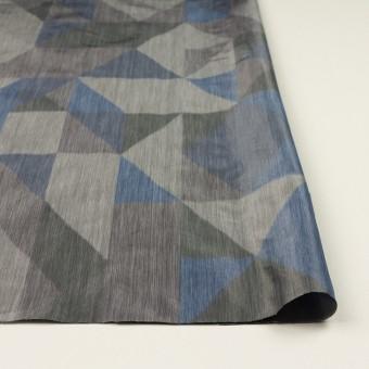 ポリエステル×幾何学模様(グレー&ブルー)×形状記憶タフタ_全2色 サムネイル3